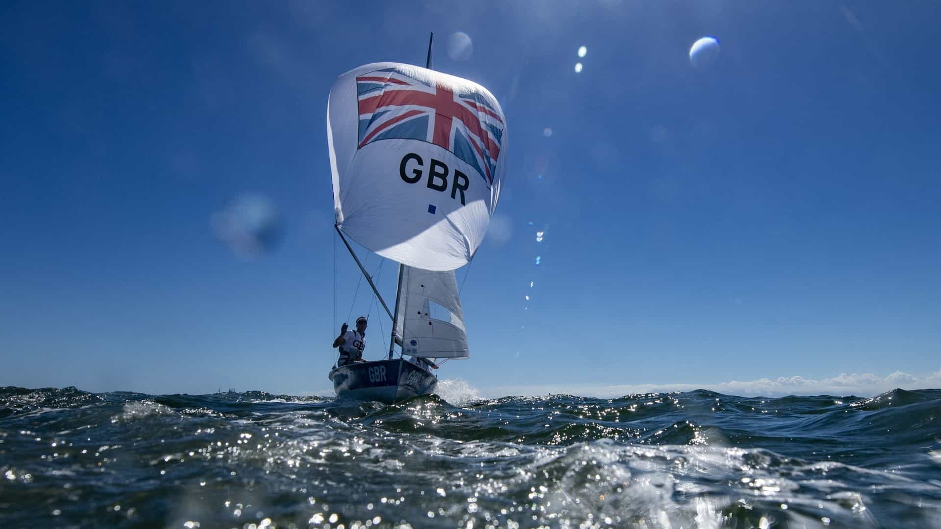 Britain's Luke Patience and Chris Grube warm up before the men's two-person dinghy 470 medal...