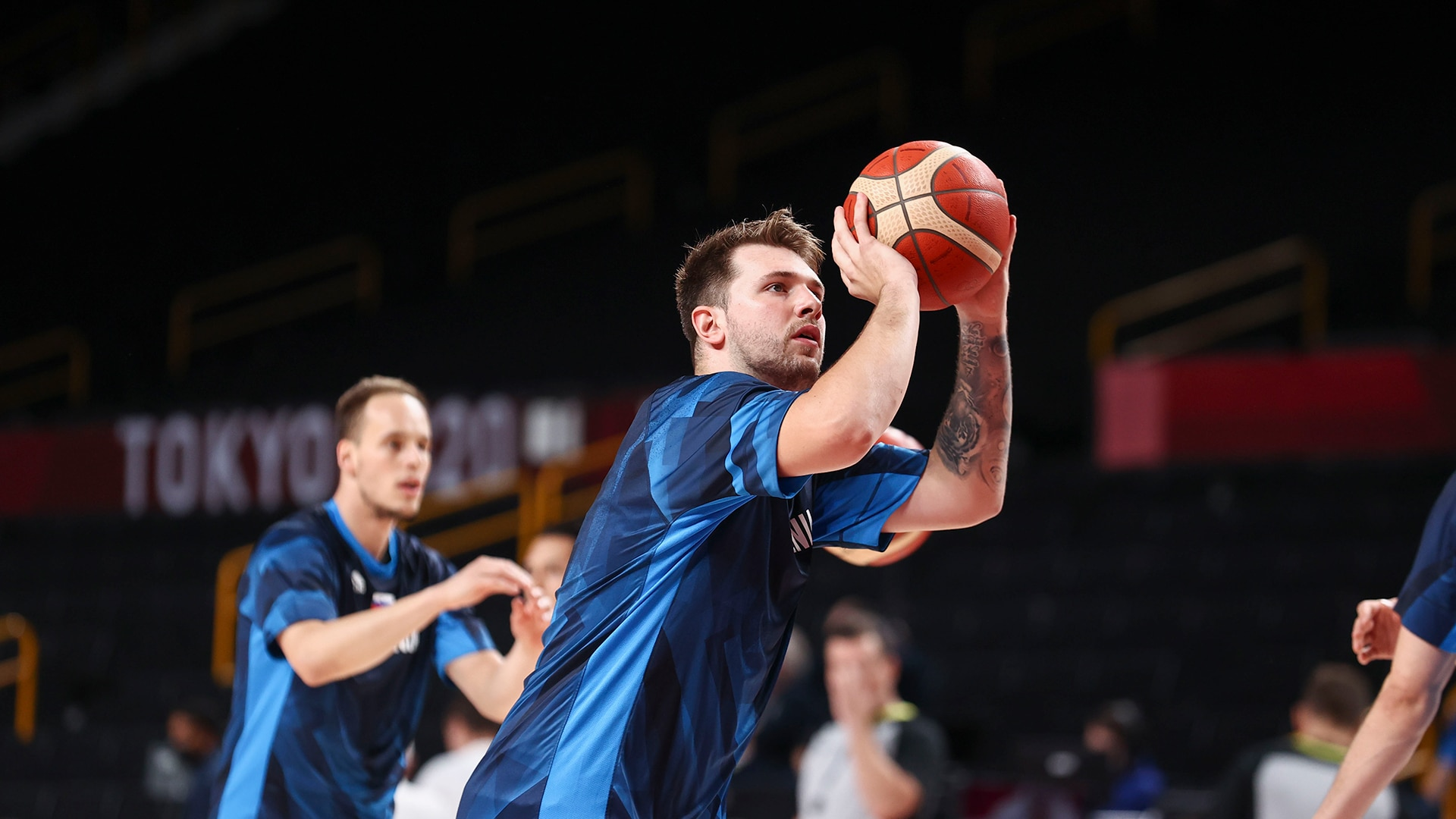 TOKYO, JAPAN - AUGUST 3: Luka Doncic #77 of the Slovenia Men's National Team warms up before...