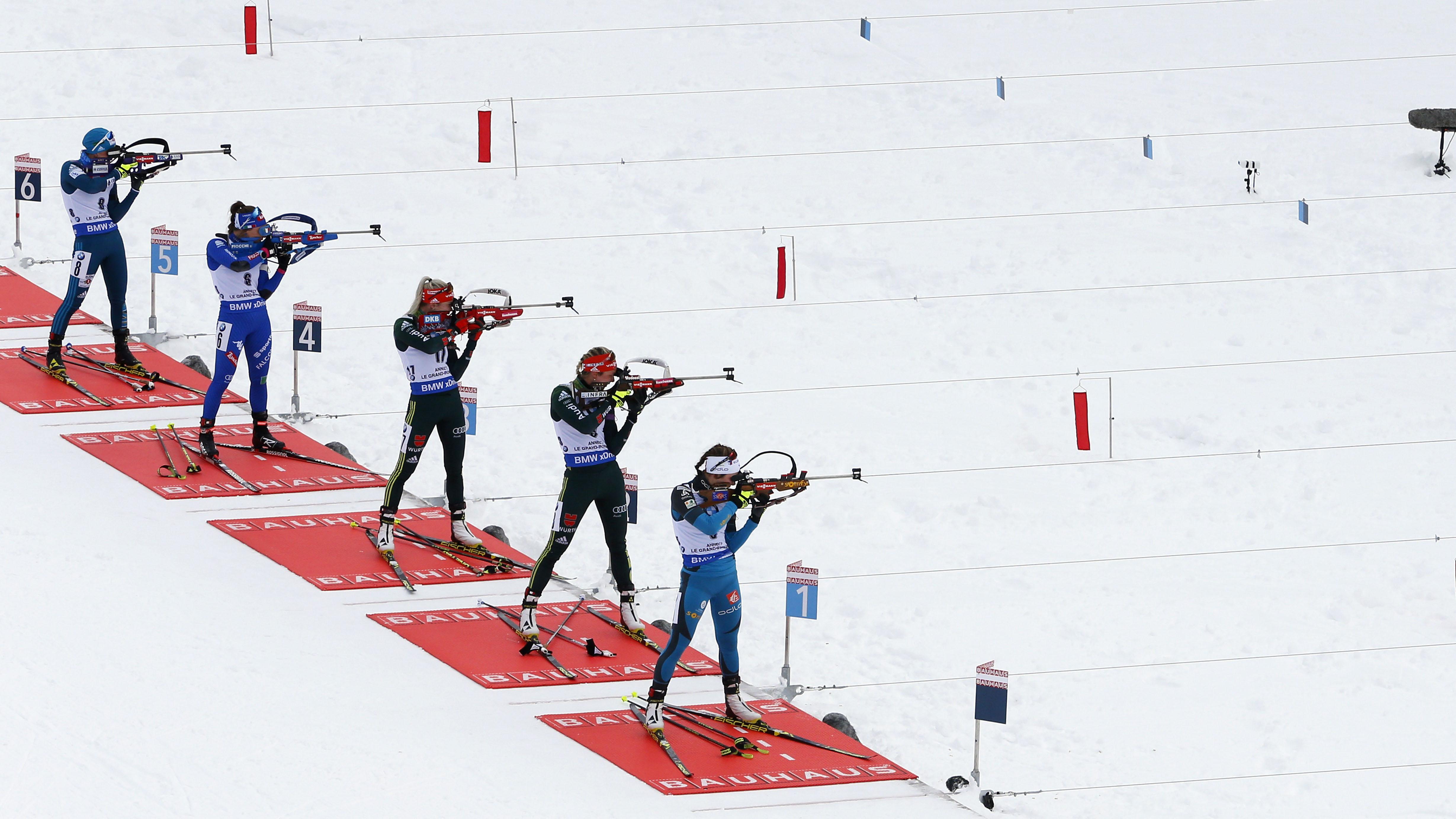 Biathletes compete at the IBU Biathlon World Cup Men's and Women's Mass Start on Dec. 17, 2017,...
