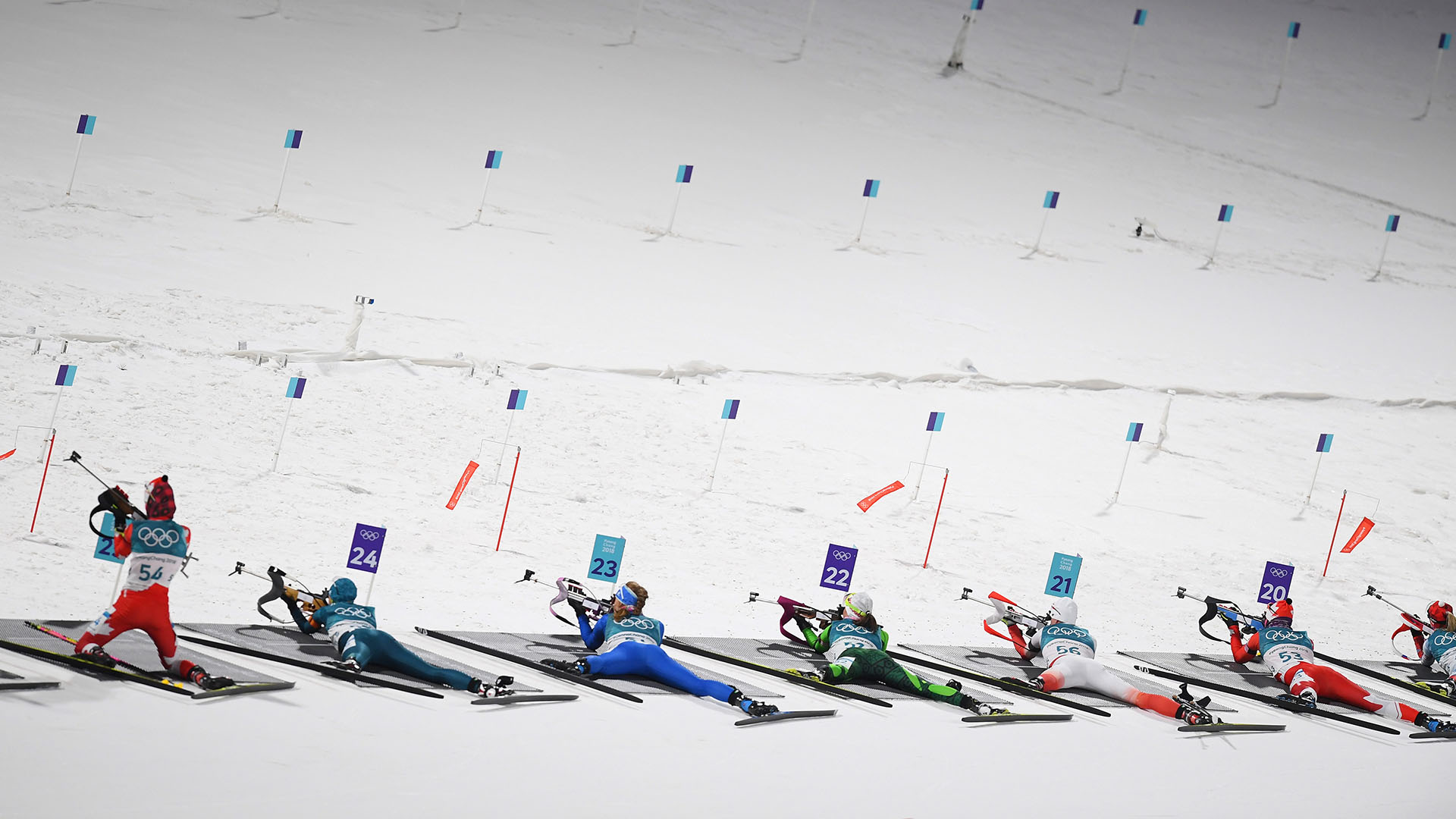 Biathletes compete during the Women's Biathlon 10km Pursuit on day three of the PyeongChang...