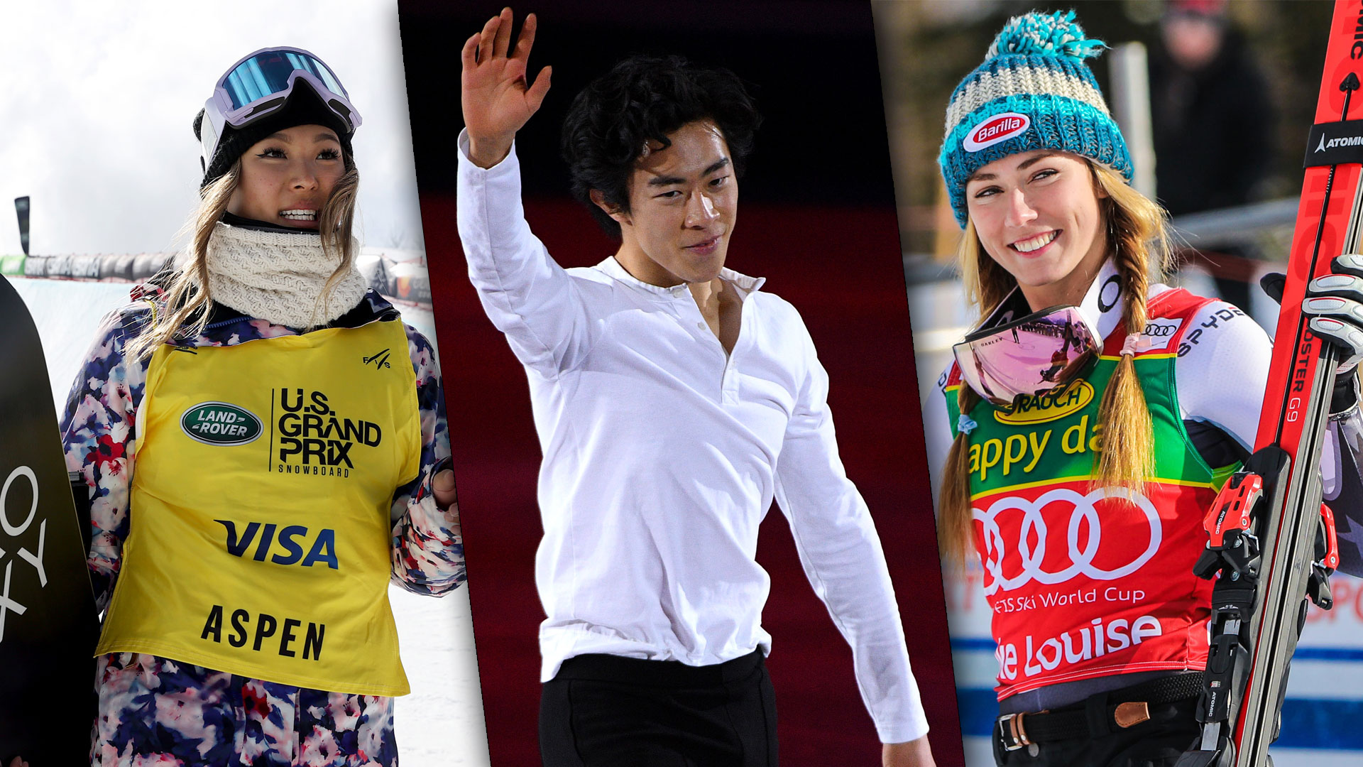 Chloe Kim (left), Nathan Chen (center) and Mikaela Shiffrin (right) have all racked up a number...